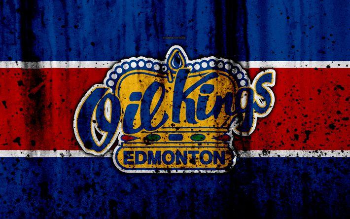 Download wallpapers Edmonton Oil Kings, 4k, grunge, WHL, hockey, art, Canada, logo, stone texture, Western Hockey League