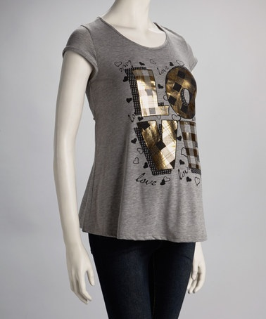 Take a look at this Gray Metallic 'Love' Maternity Short-Sleeve Top - Women by QT Maternity on #zulily today! $12.99, regular 25.00