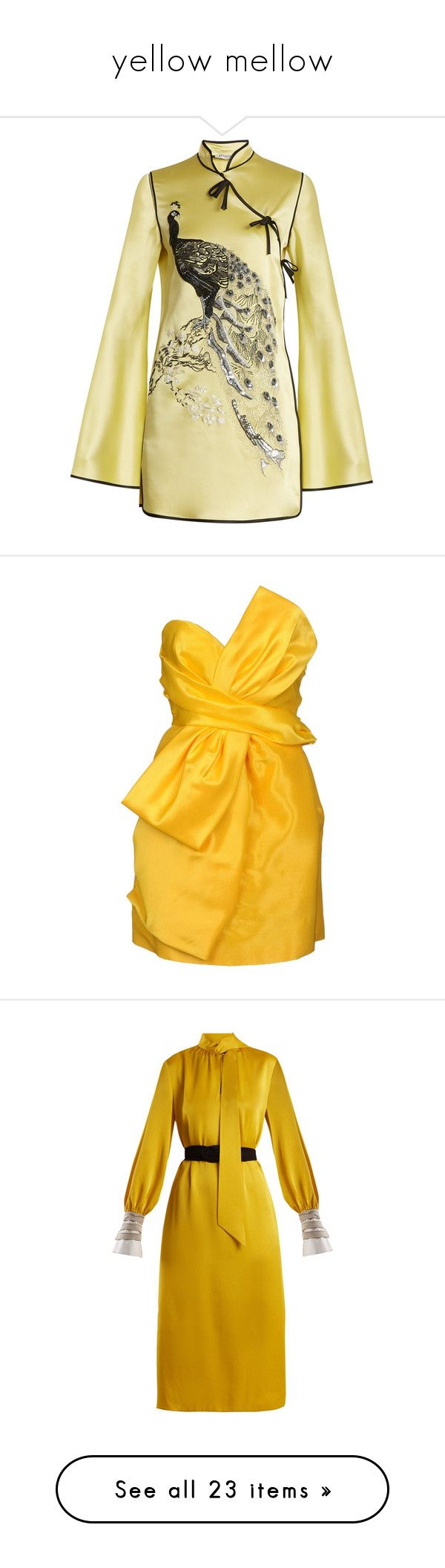 """""""yellow mellow"""" by cristinachioseaua ❤ liked on Polyvore featuring dresses, tops, yellow multi, mini cocktail dresses, long sleeve dress, short cocktail dresses, short dresses, short sleeve dress, yellow and tube dress"""
