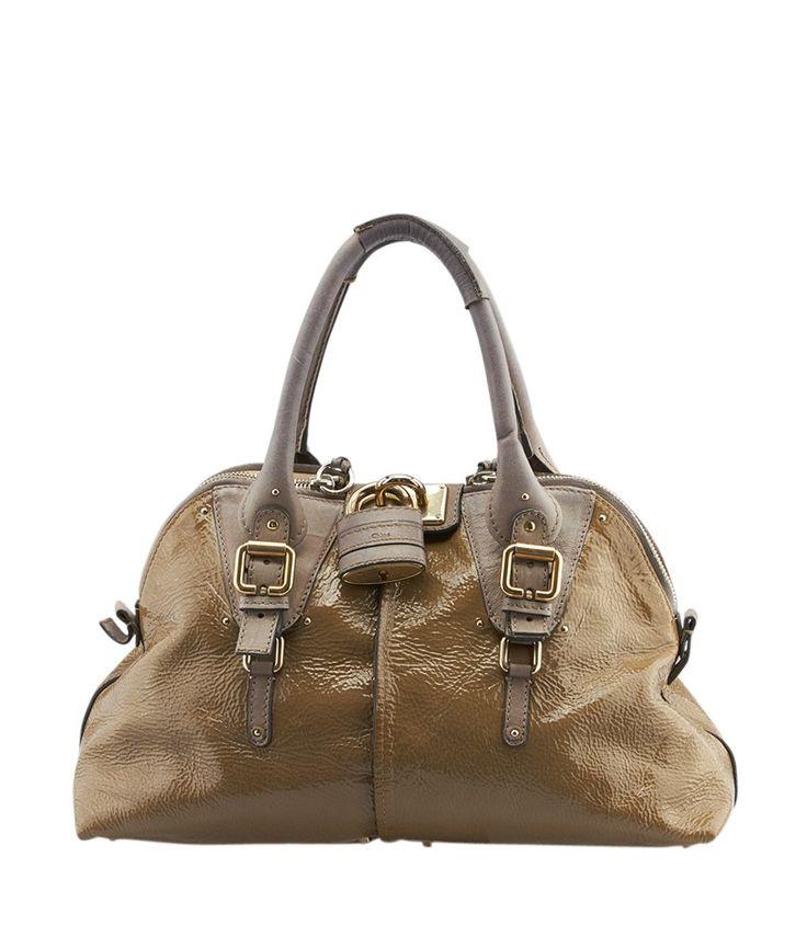 Chloe Paddington Brown \u0026amp; Grey Patent Leather \u0026amp; Leather Hobo ...