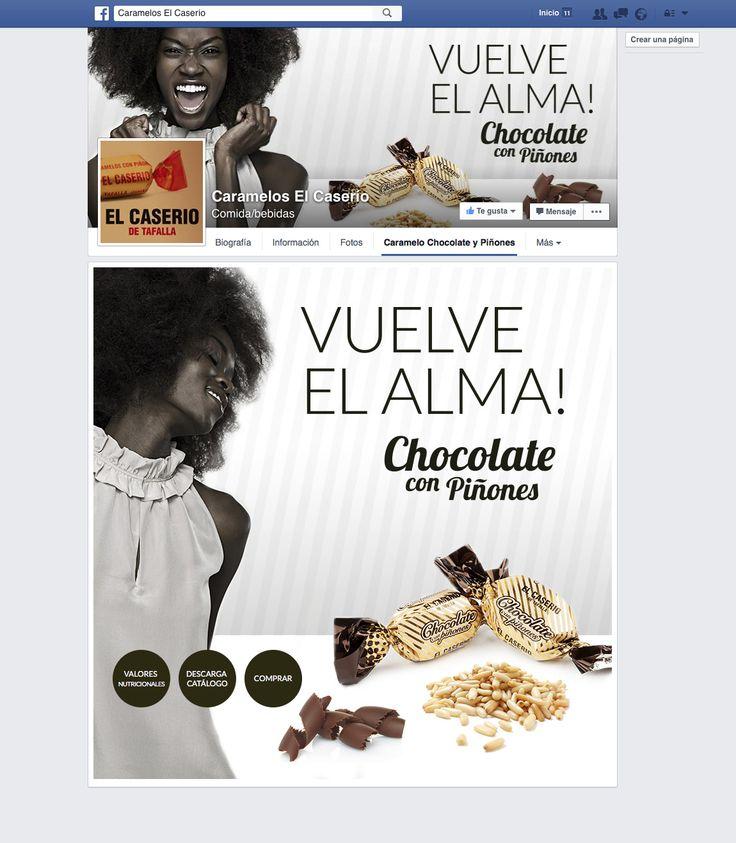 Pestaña personalizada en el Facebook de El Caserío de Tafalla para promoción del nuevo Chocolate con Piñones.