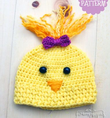 Cute crochet chicken hat with yarn hair (free crochet pattern) // Aranyos horgolt hajas csibe sapka gyerekeknek // Mindy - craft & DIY tutorial collection