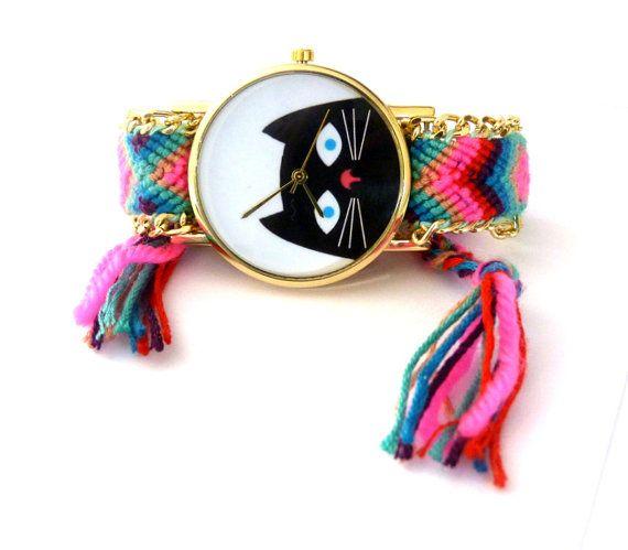 Kat horloge etnische Braziliaanse armband geweven Gold Dial Watch horloge zwarte kat Boheemse kat vrouwen boho sieraden horloge armband horloge
