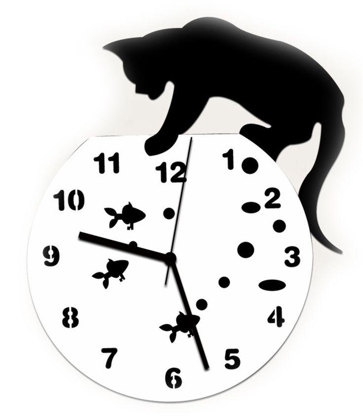 Amazon|おしゃれ ! 【 黒猫 金魚 掛け時計 + フック セット 】 アンティーク インテリア 壁掛け時計 北欧 時計 かわいい ネコ ねこ 雑貨 猫グッズ 壁掛け デザイン (猫 水槽)|置き時計・掛け時計 オンライン通販