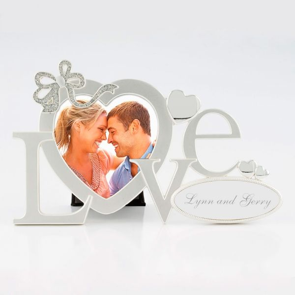 """Love Word Frame - The heart shaped photo opening in our """"LOVE"""" frame is the perfect spot for a favourite photo of the happy couple, smiling baby, adorable pet or other loved ones."""