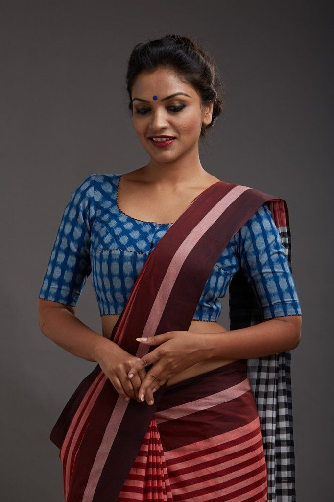 Polka dot Ikat round necked blouse with piping detail   THE KAITHARI PROJECT   Handwoven, designed and tailored in Kerala   Pure cotton   Sleeve length : XS ...