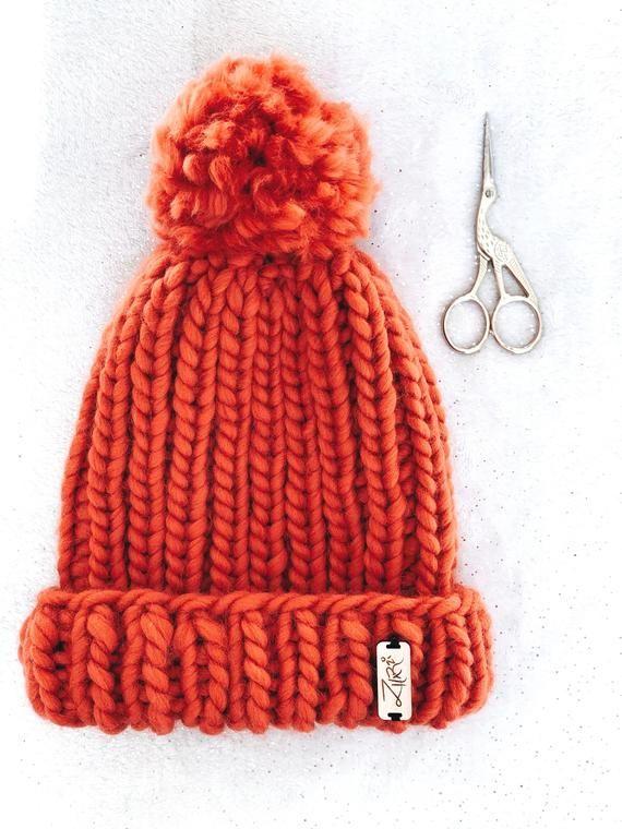 1a70c7c2f Luxury Knit Beanie   The Aurora Beanie   Hand made Pom   Rusty ...