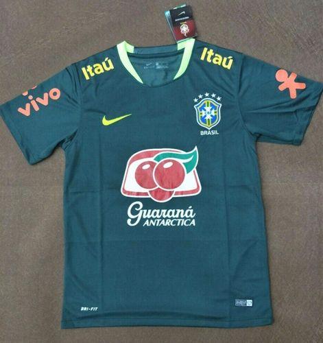 2017-18 Brazil Dark Green Thailand Pre-competition Training Soccer Jersey