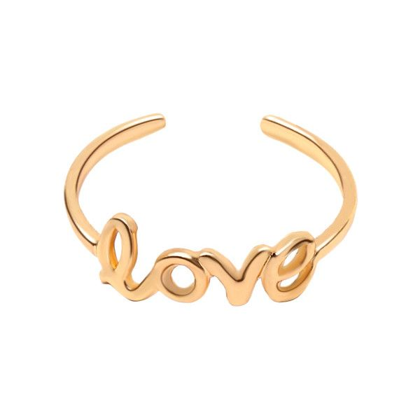 Gold Love Cutout Toe Ring (€3,63) ❤ liked on Polyvore featuring jewelry, rings, gold ring, yellow gold rings, toe rings, cut out jewelry and gold toe rings