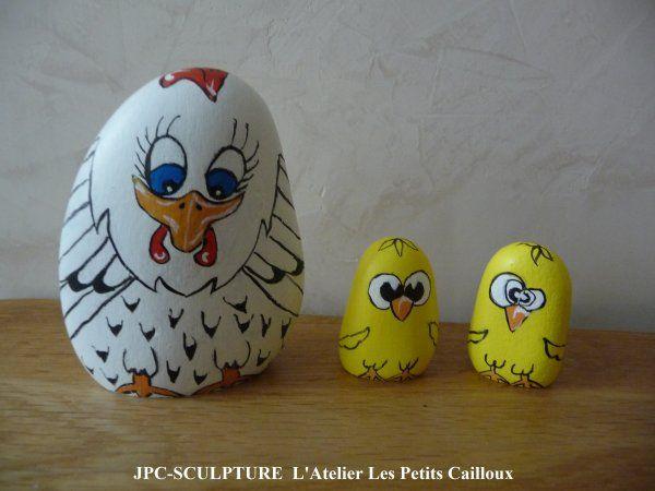 """Galets peints """"Poule et poussins"""" by JPC"""