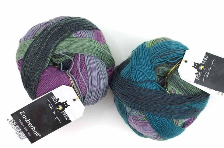 Schoppel Zauberball, self striping sock yarn, color 2308 Smoking Area, fingering_weight yarn, teals, purples