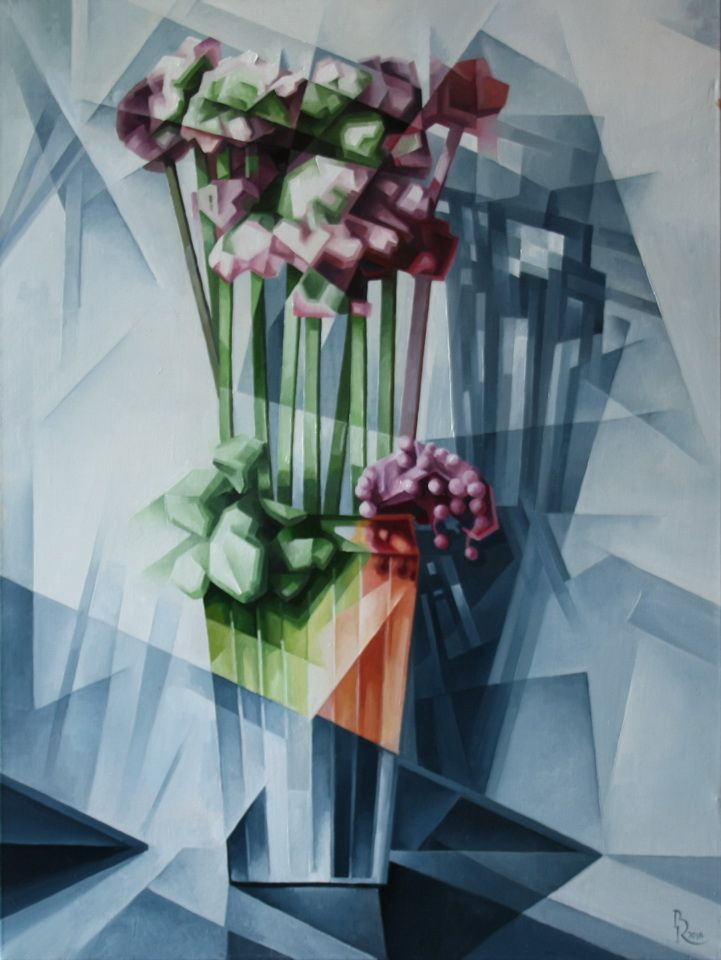Vase with Flowers. Cubo-futurism. Krotkov Vassily.