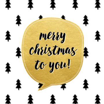 Leuke kerstkaart met als achtergrond een patroon van kerstbomen. Daarop een gouden tekstwolk met je eigen kerstwens. Op de achterkant komen de kerstbomen weer terug. Je kunt ze ook nog een andere kleur geven.