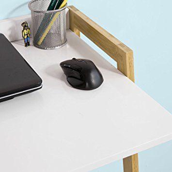SoBuy® Escritorio de la computadora, mesa de ordenador para el diseño de la superficie de trabajo ajustable en 2 alturas fácil, FWT15-WN, ES: Amazon.es: Hogar