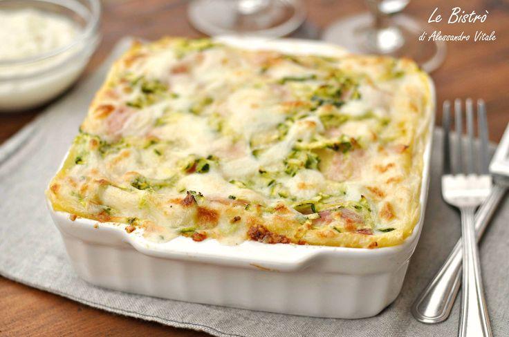 Lasagne bianche con zucchine e prosciutto cotto
