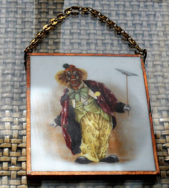 Vintage 1960s Painting on Glass of Famous Clown Lou by BYGONERA