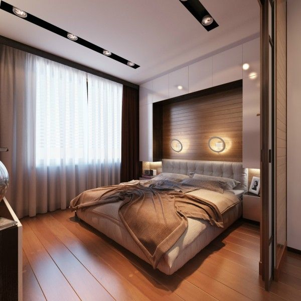 Small Nautical Bedroom with Queen Size Bedroom Sets and Hardwood Floors