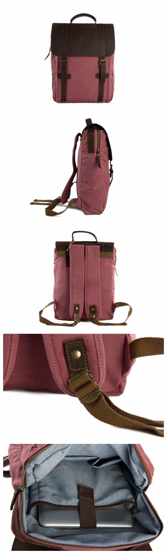 Leather-Canvas Backpack Laptop Bag Travel Bag Unisex Backpack
