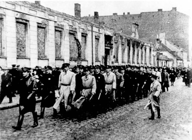 Warsaw, Poland, The Jewish Police, marching in the ghetto ...
