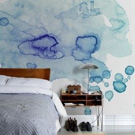 Watercolours - Colour Puddle Wallpaper from Scandanavian Wallpaper + Decor