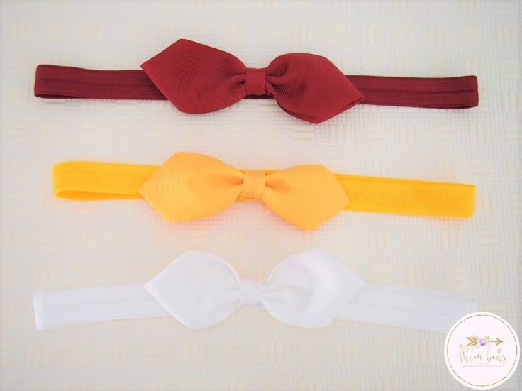 School headbands, school hair bow, maroon, white, golden yellow- school uniform - girls back to school - baby girl headband by ThemBowsbyKathy on Etsy