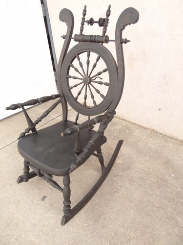 Antique Victorian Bench Made Rocker Rocking Chair Primitive Spinning Wheel  eBay  Dining Room