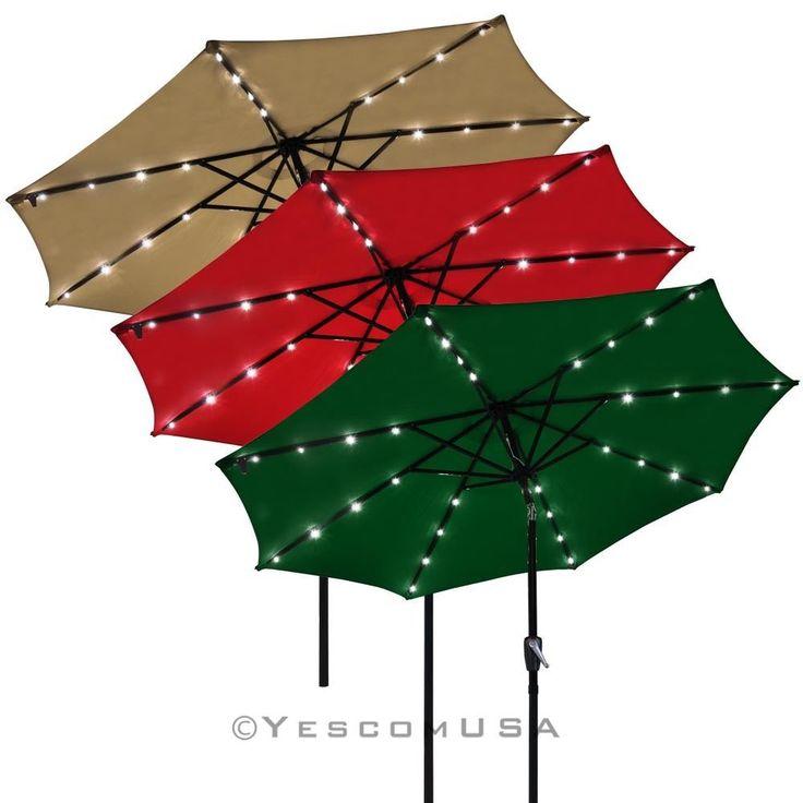 9' Patio Solar Umbrella LED Tilt Aluminium Deck Outdoor Garden Parasol Sunshade •32 pre-installed white LEDs provide energy-efficient lighting(4 LED lights per rib) $68.99