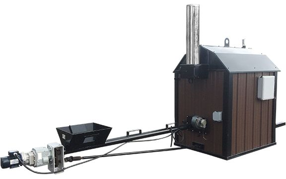 The Stoker Series  This multi-fuel boiler gives you the option to burn either coal or pellets. It will burn 1/3 to 1/2 less fuel than any other conventional outdoor boiler. The auger feed bin system provides the convenience of having an efficient outdoor boiler that operates for extended periods of time without user input. Virtually smokeless, the Stoker series will heat 10,000 sq ft to 30,000 sq ft.  The Stoker series burns coal, wood pellets, oat hulls, grass pellets, sunflower hulls…