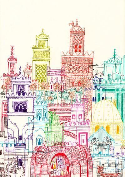 Marrakech Towers  Art Print