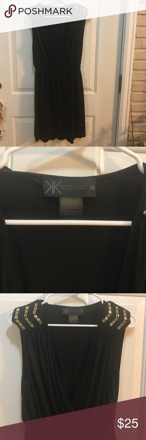 Kardashian kollection dress Kardashian kollection black dress w/ gold on shoulder, size medium never worn Kardashian Kollection Dresses Mini