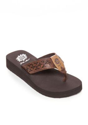 Yellow Box Dark Brown Benji 2 Flip Flop Flip Flop Sandals - Girl ToddlerYouth Sizes