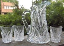 Lovely Abp FRY TANKARD PITCHER TUMBLER FLORAL CUT GLASS WATER SET Antique Signed