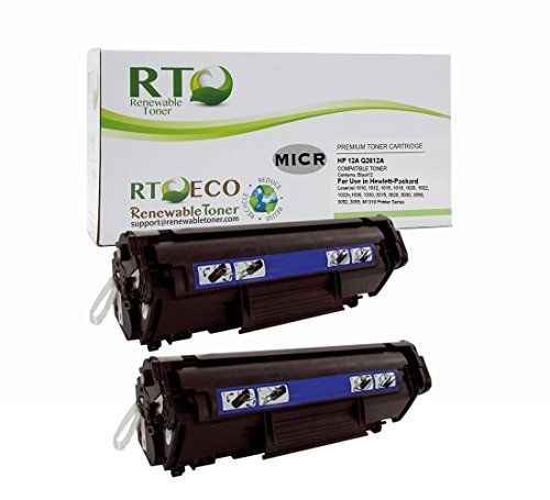 Renewable Toner 12A Compatible MICR Toner Cartridge Replacement HP Q2612A for HP LaserJet M1319 M1319f 3015 3020 3030 3050 3052 3055 1010 1012 1018 1020 1022 1022n 1022nw (2 Pack)