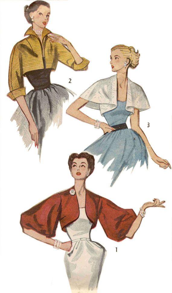 Simplicité 3746 Vintage des années 50 motif fantaisie vestes Boléro de soirée-3