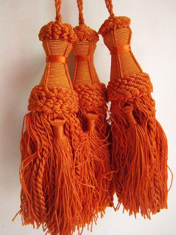 Orange Curtain Tassels Indian Home Decor Curtain by dreamworkshop
