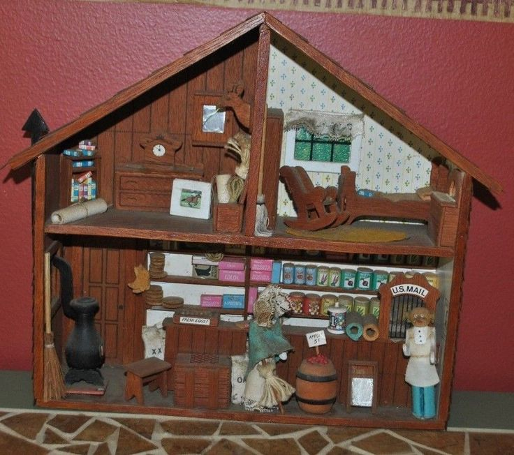 Liquor Cabinet Ideas: Vintage Wood Diorama ENTIRE HOUSE / STORE Shadow Box