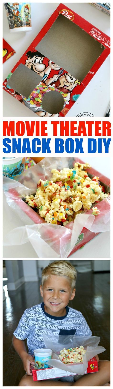 Make your own Movie Theater Snack Box, super quick, super fun, and super awesome DIY craft to make your own movie theater snack box in 5 minutes
