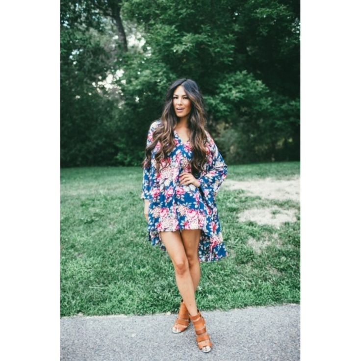 Fall Floral Tunic Dress-Navy