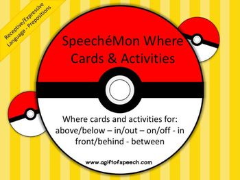 SpeecheMon Where Cards includes practice cards as well as picture scenes.  Practice above, below, in, out, on, off, in front, behind, and between with these Pokemon inspired characters.