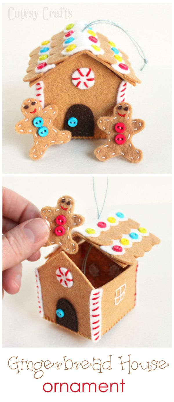 Christmas decoration man falling off roof - Felt Gingerbread House Ornament