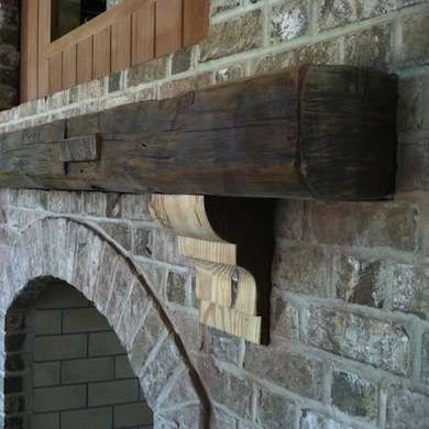 Salvaged Wood Mantle from http://www.bobvila.com/barn-wood-cabinets/13311-11-ways-to-use-salvaged-wood-in-your-home/slideshows#.U_d1ecVdU1J