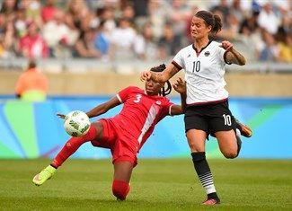 Buchanan, Kadeisha, Marozsan, Dzsenifer - Canada (CAN - FB - Female), Germany (GER - FB - Female) - Football - Canada, Germany - Women - Women's Semifinal - Mineirão