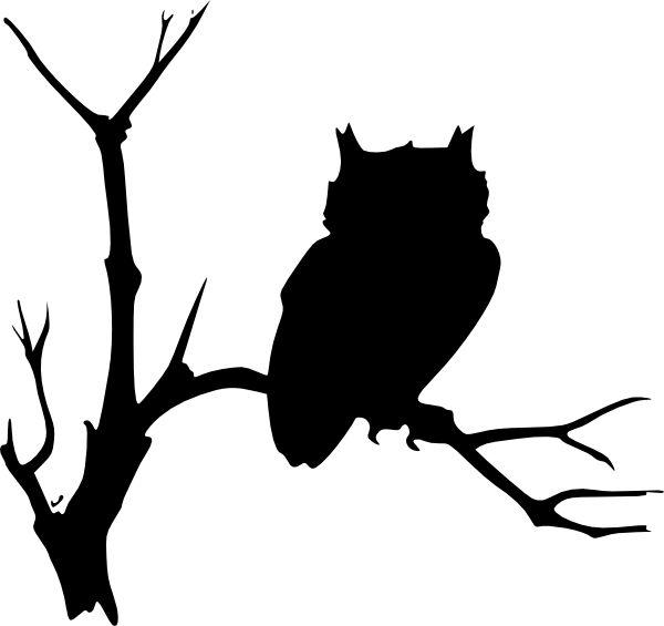 halloween art owl on tree branch | Owl Silhouette Clip Art ...