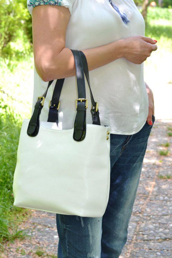 Белый кожаный мешок Tote, Белая кожаная сумка, кожаный мешок плеча, сумка белая кожа, кожа Tote, женщина кожаная сумка, кожаные сумки Женщины
