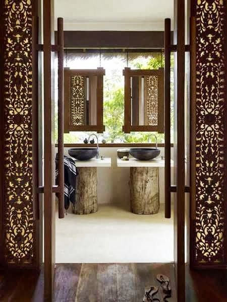 Indoor outdoor. The inspiration - love this. Indoor/outdoor Balinese. 2nd upstairs bathroom.