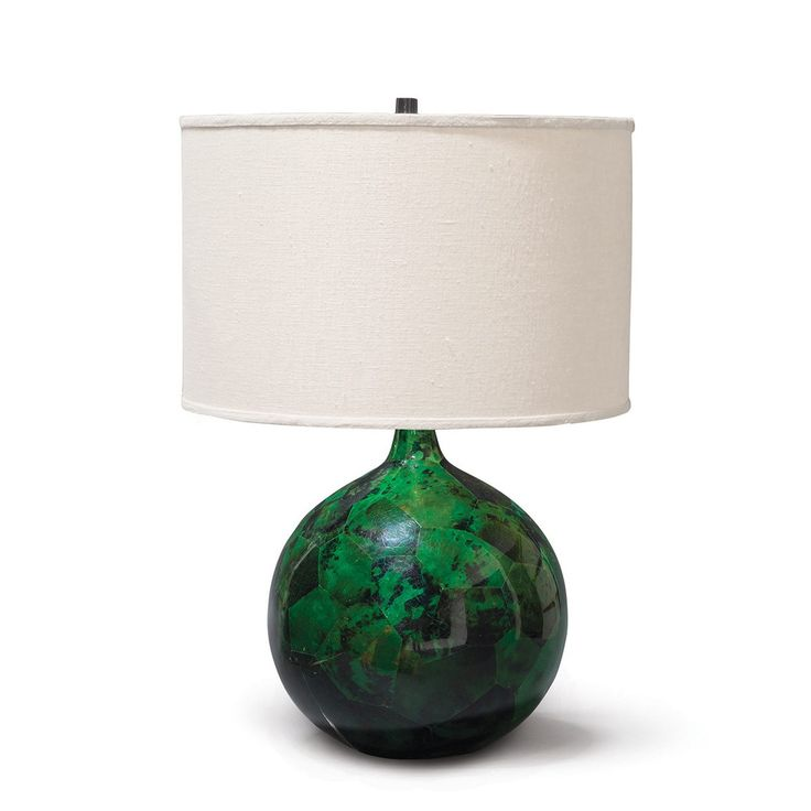 A Table Lamp Made Of Inlaid Emerald Penshell. Topped With A Silk, Beige Drum