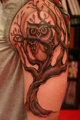 Corey Miller Owl Tree Tattoo - love it so much