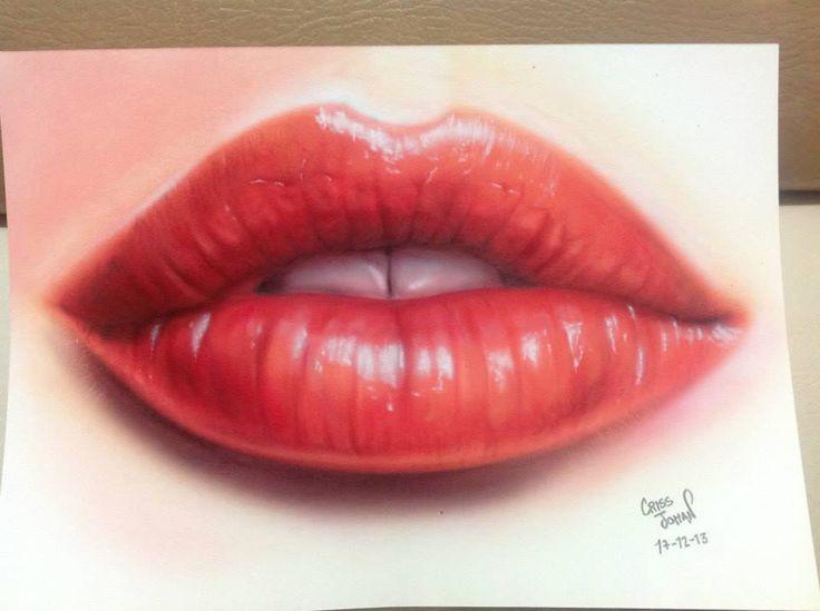 Lips Aerografia sobre papel