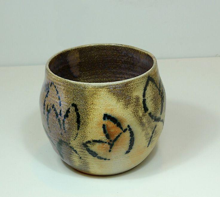 Pirjo Lautiainen, wheel thrown and anagama fired pot, blue chun glaze
