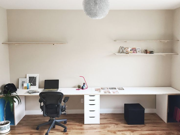 Plywood Desk Home Office Storage Diy, Double Desk Home Office Ikea